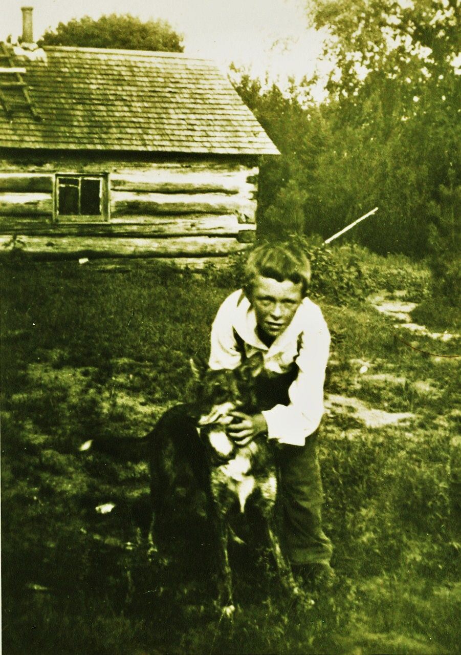 William Revoy as a boy,  at a cabin near Glen Allan Park