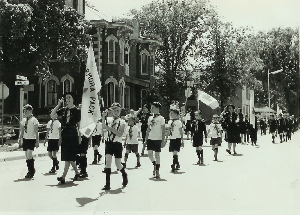 A scout march in STirling - June 1965 Doris VanVolkenburg in the lead, Audrey Nichol on the left half-way back.  At the back of that group is Jackie Donaldson.  In front of her?  Other possible leaders back then were Ina March and Lucille Bedore and Della Wilson.  Some older Marmora residents might recognize some of the kids.