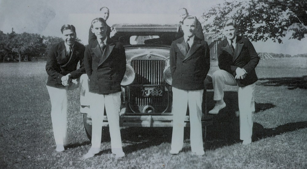 Aces Orchestra1932in Jack Denmark's 1926 Cadaillac,  at Tipperary Hotel                Fred Dorie, Jack Denmark,  back row - Jack Grant, Jack McCaul,  Mike Hayward and Reg Spalding