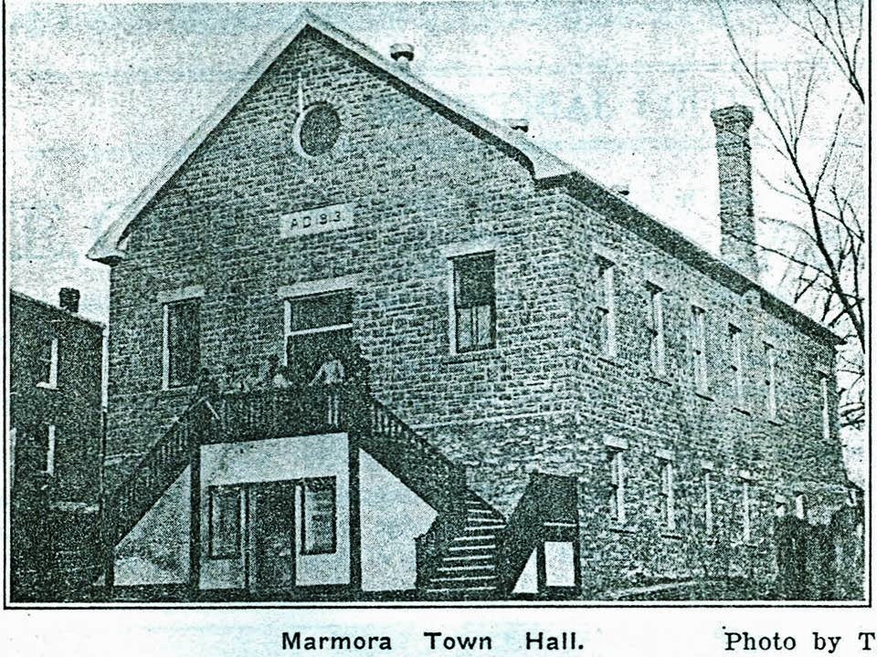 Marmora Town Hall 1914                                                 Photo by local photographer T. Stewart