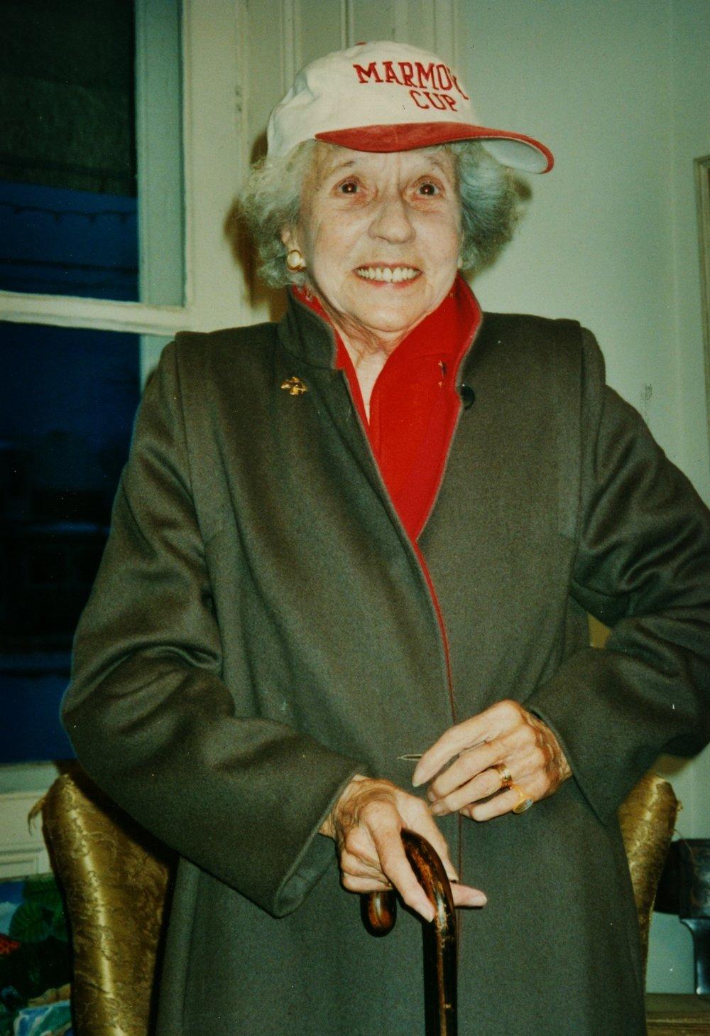 Helen Gaffney Jones Mantle getting ready for Snofest1995