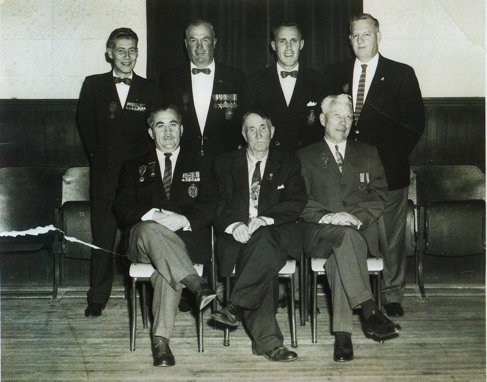 MARMORA LEGION.. BACK ROW L TO R. CLAYTON BEDORE; JIM RATHWELL; TINK KERR; BOB GRAY...FRONT ROW PERCY GRAY; REDDIE BARTLETT; BILL REGAN