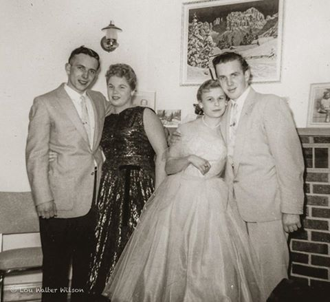 The Prom  The Early Days Of Photography 1959 I was 11 years old. By sister Carol in Black with Bev Barnett escorted by Don on the left and Bob on the right Mckinnon  Taken with a Target Brownie Six-20 Marmora Ontario Canada  Don McKinnon with Carol Wilson on left - Bev Barnett & Bob McKinnon on right (they eventually married & had 4 sons - Terry, Tim, Stephen & Rick). Wilma Bush's eldest brothers!
