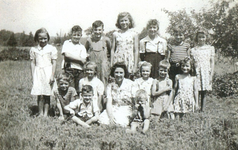 Blairton School Group:                       Ruby Youmans,  Murray Walker, Bob Cok,  Arlene Aunger,    Jackie Youmans, Bob Aunger, Noseworthy, Bob Walker, Edith Youmans, Jim Wallbridge, Marie Cook, Glen Niles, Pat Aunger