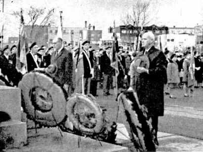 Sudbury M ayor William Ellis  and Copper Cliff mayor Richard Dow paused in tribute .  Sudbury.Dec. 1963 (INCO Triangle)