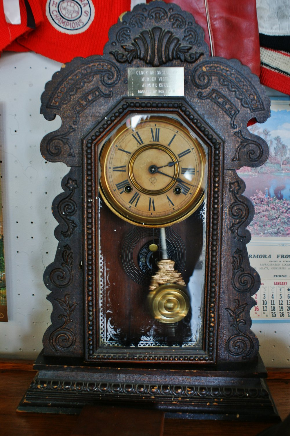 The clock that witnessed the murder of Jerome Keene