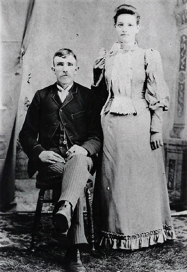 John VanVolkenburgh and Sarah Reid wedding day April 19 1893 Photo by Cunningham studio, Norwood & Hastings.