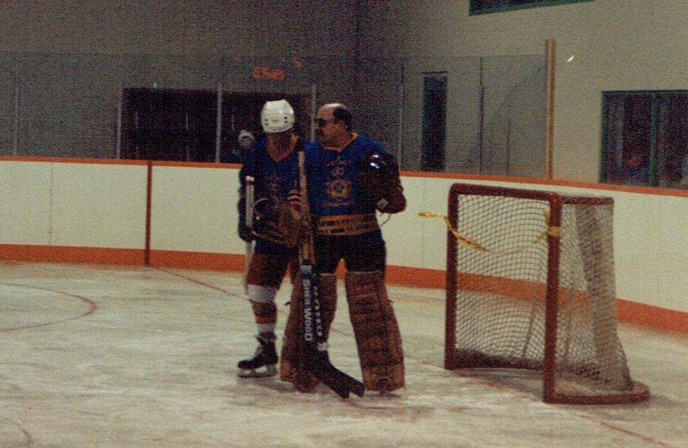 1991 Arena Opening Councillors vs OPP Blind Goalie.jpg
