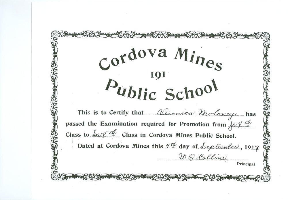 Cordova Mines School,  Graduation Certificate Veronica Maloney.jpg