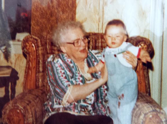 Loretta (O'Shea) Terrion &  great grandson Josh Loveless.jpg