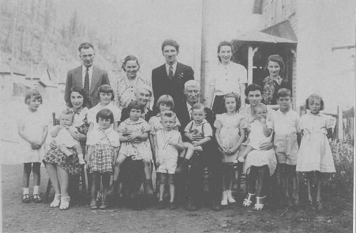 Seated centre, Patrick J Terrion and wife Catherine Sarah Legrow. Other assorted children/  & grandchildren surrounding. Back row second from right Mary Ann Terrion.