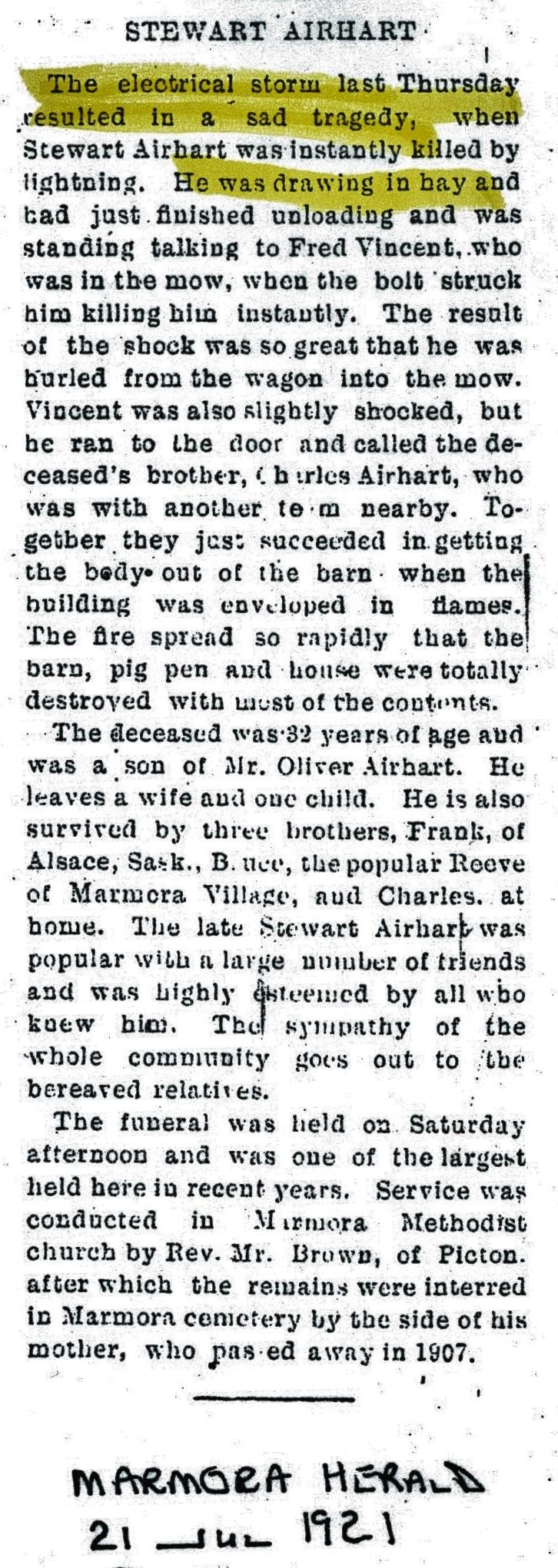 Airhart, Stewart, farmer, 1889-1932, lightening strike.jpg