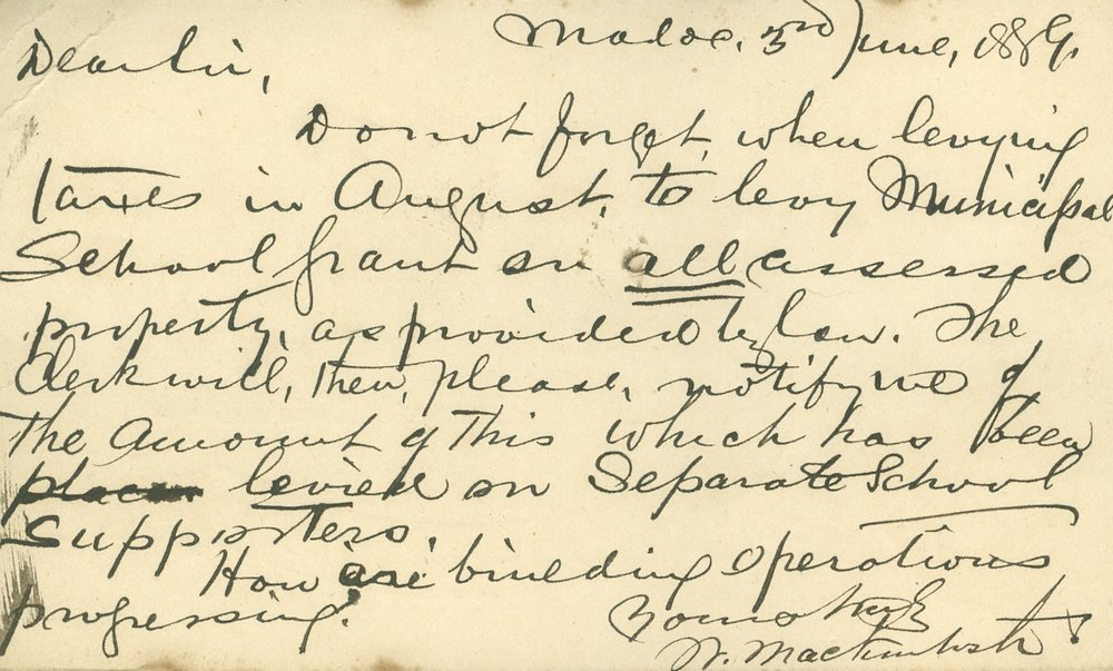 Card  to Reeve Gladney from W. MacIntosh, 1889.jpg