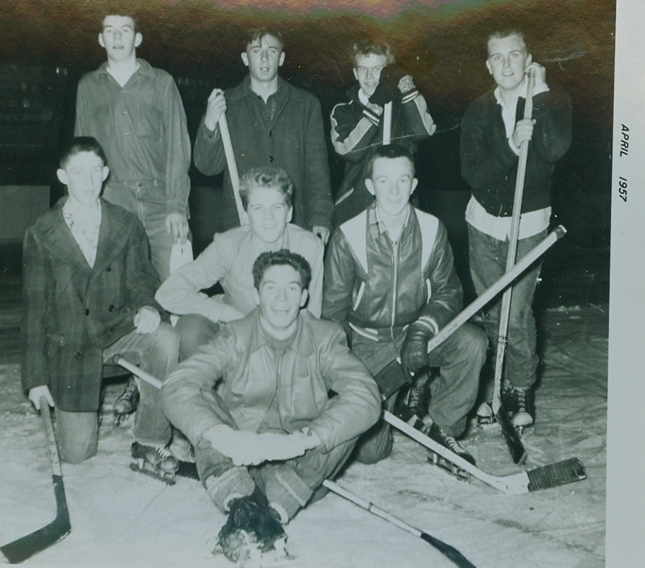 1957-1958 Marmora High School  Boys Noon Hockey Champions,    back:Harold Maloney ?, ?, Gord UniackE    middle row l to r    ?, ?, Gary Kelly   Jack front and centre