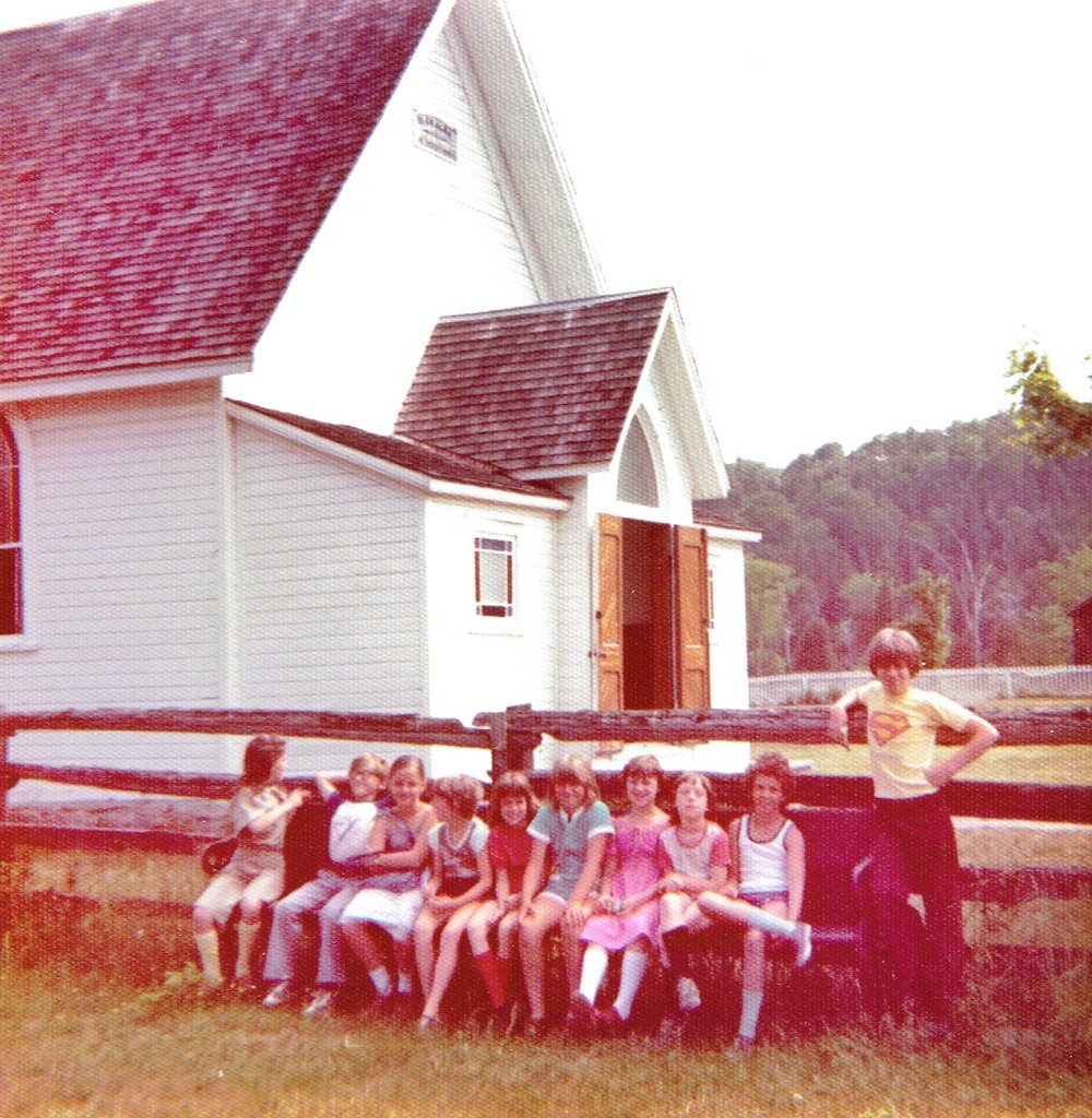 1979 Gr. 4 visit to Lang Village - Lisa Finch, Stanley Laton, Reilly Wilkes, Kathy Brown, Rozanne Spencer, Michelle Mumby, Brenda Wilman, Mela Ralph, Janice Mawer & Robbie Cooper