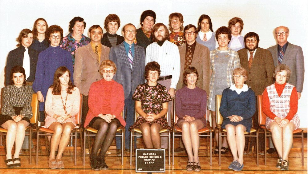 Staff  1972-73    Back Row :  Anne Thompson or Tucker,  Ag Loveless,  Marylin Mantle, Very Spry,  ? ? Suzanne Barker    Middle :  Mr. Redcliffe,  Barb Sanderson,  Carl Pitman,  Al Danford,  Bill Lundy,  Al  Stitt,  Mary Wise(Clemenger) Mr, Flynn, Ken Gillies,   Front : Sharon Danford,  Doreen Redcliffe,  Gail Elkington (Thompson)  Joan Fox,  Mrs. Borland,  Lorna Oddie,  Jean Shannon