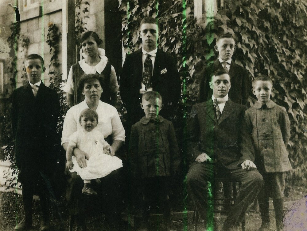 Smith Family, Deloro, c. 1924, Standing Back Row, L. to R. - Simeon, Daisy, Harry Jr., Norman, Sitting L. to R. Daisy Smith with  Iris, Richard (Dick), Harry Sr., William (Mae, Betty, and Marjorie not yet born).