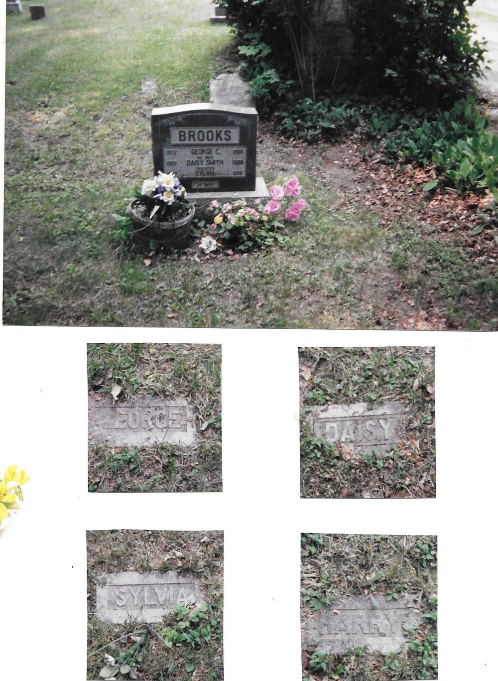Brooks Family Gravestone with 4  footstones, George, Daisy, Sylvia