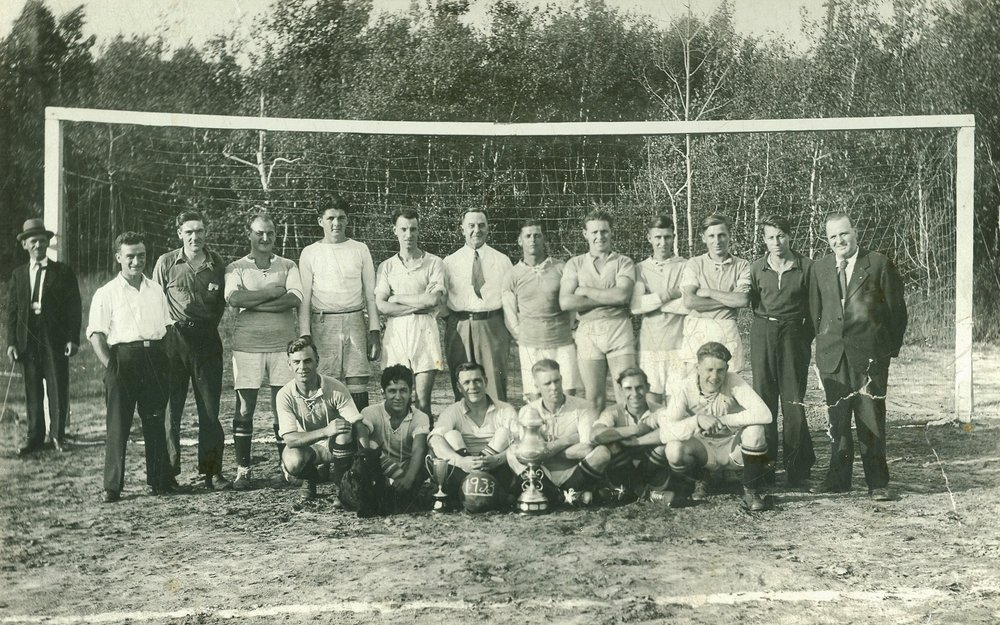 Soccer Team  1933 - Far Right standing - Syd Cheeseman Front row:  3rd from left,  Bill Brown,  4th George Brooks