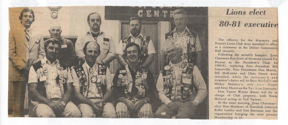 Marmora Lions' 1980-81 Executives.jpg