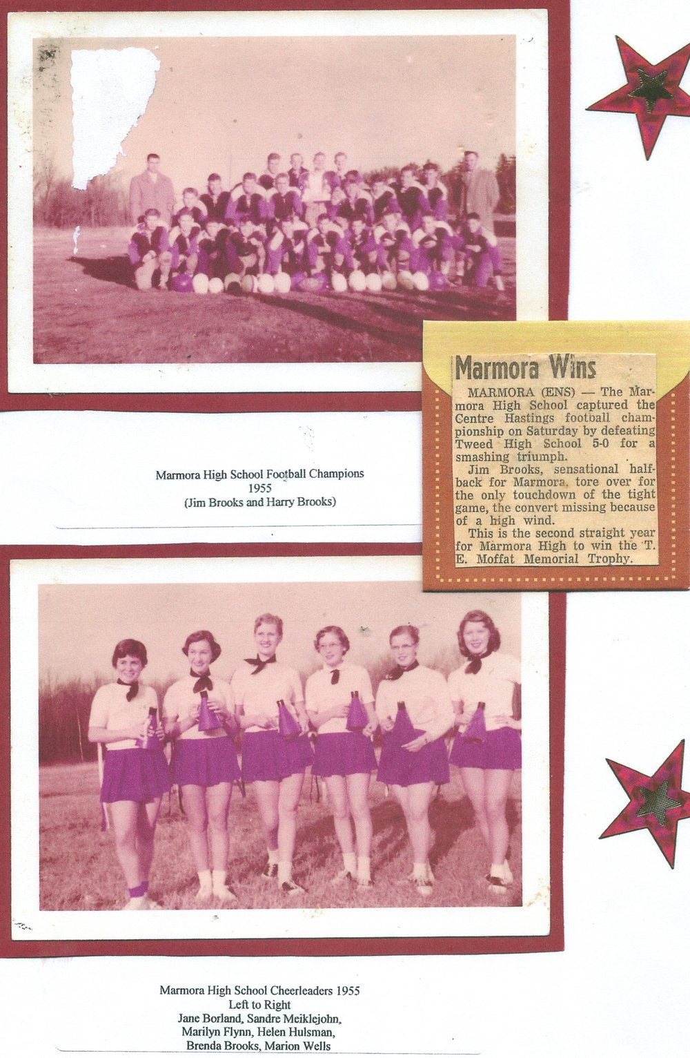 Marmora Footballs champions 1955, Jim Brooks, Harry Brooks, & cheerleaders.jpg