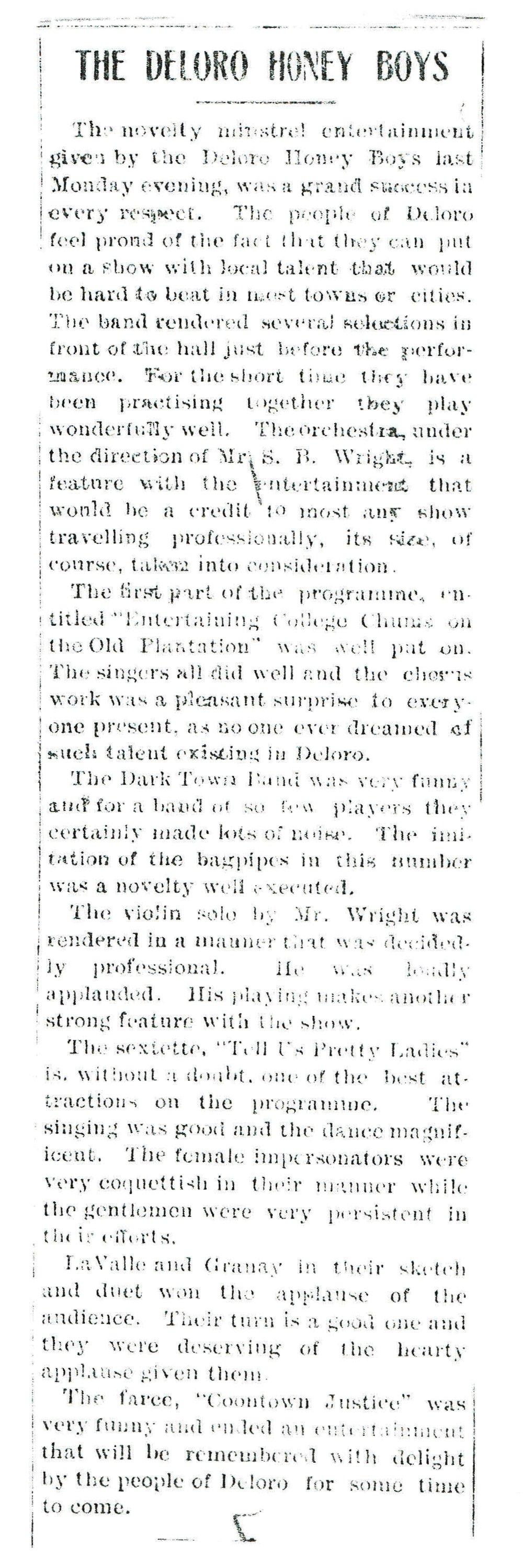 Honey Boys entertainment Deloro May 20, 1909