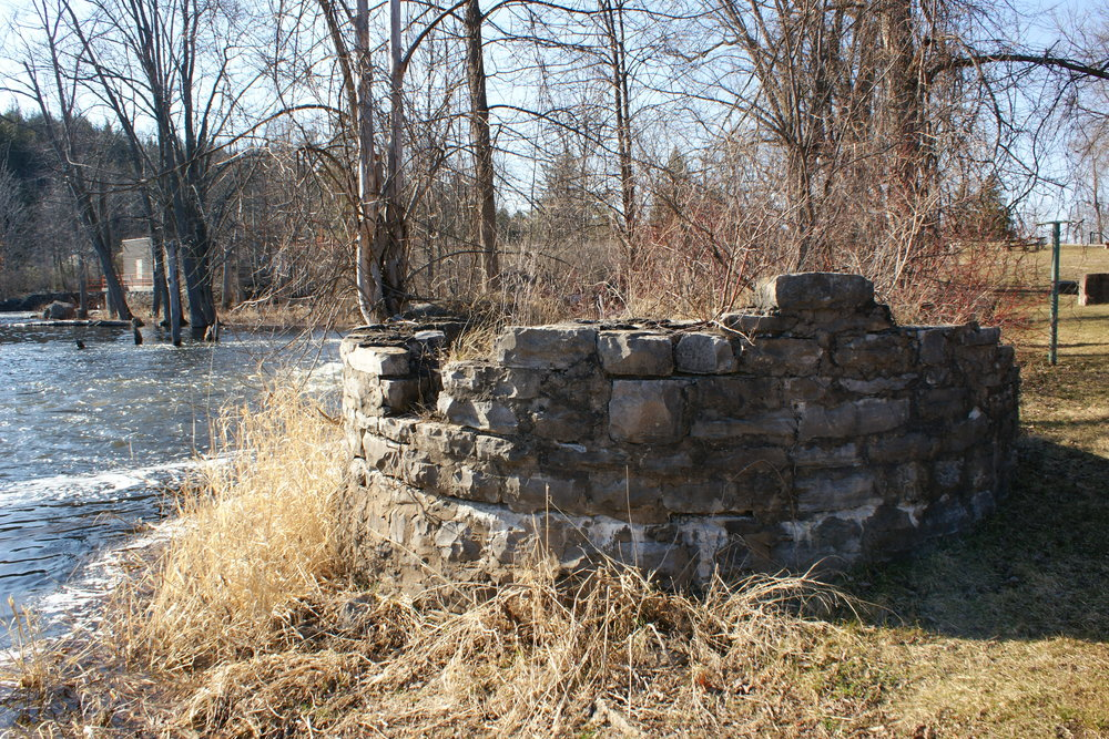 Remnants of the sawdust burning chimney