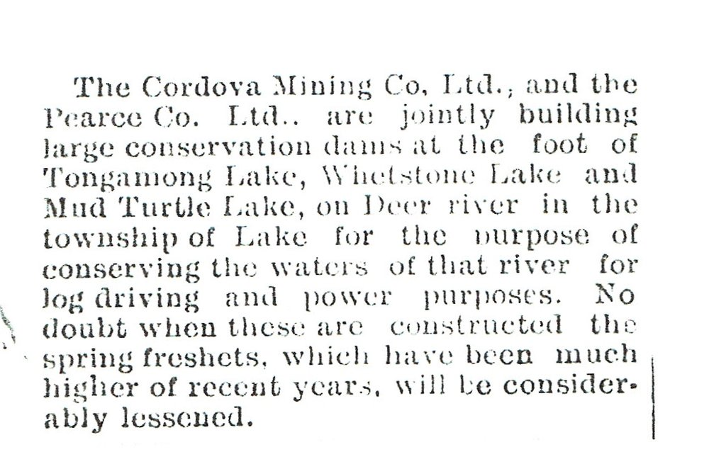 1911 Dam building by Cordova Co & Pearce Co..