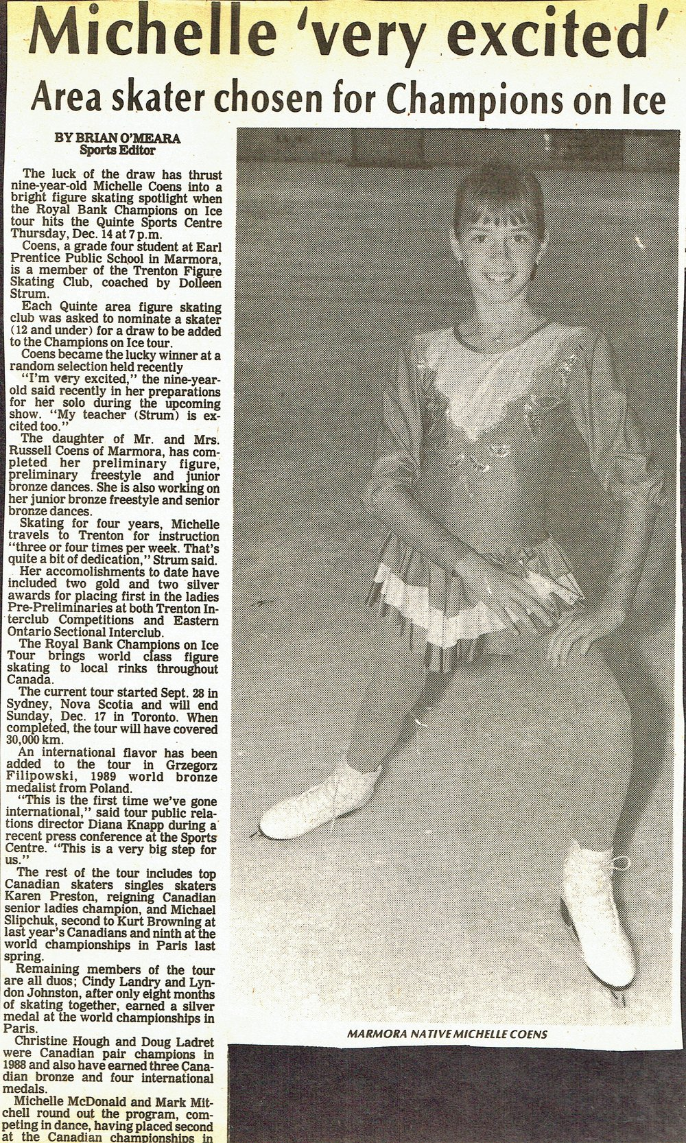 Michelle coens,  an earl prentice student in marmora,  skated with the trenton figure skating club  c. 1988