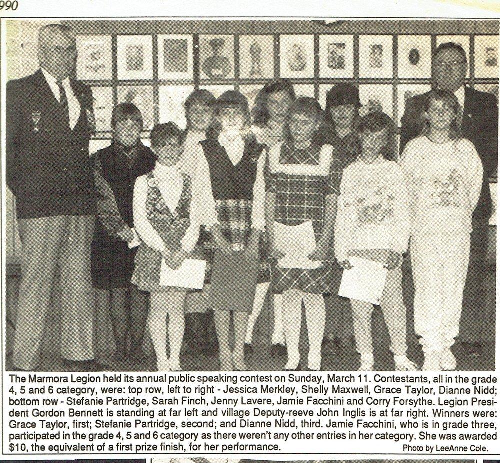 Legion Public Speaking contest 1990.