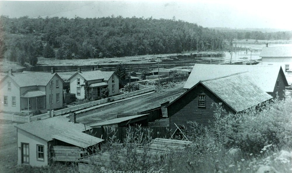 Pearce barns and sheds on the east side of Main Street,  looking north up the Crowe River
