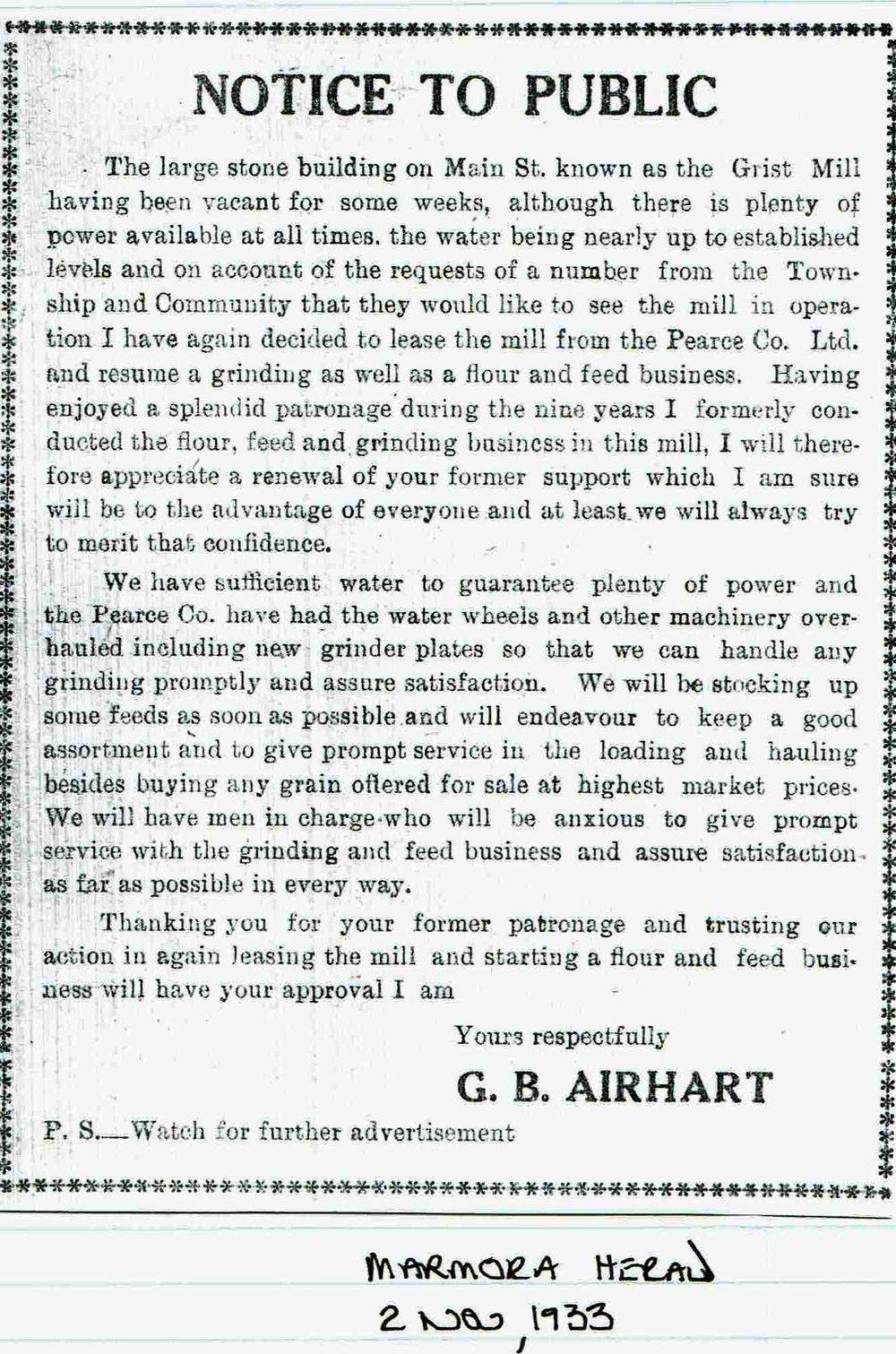 G.B. Airhart - Grist Mill 1933.JPG