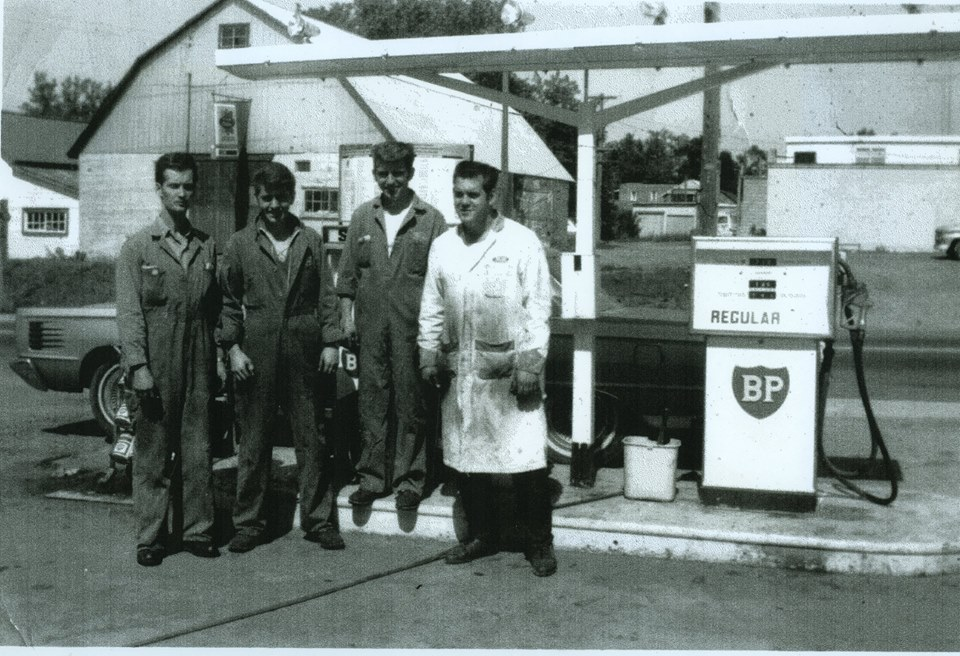 BP station behind library on #7.with Don Derry, Jim Baptie, Glen Baptie and Keith Woodcock.jpg