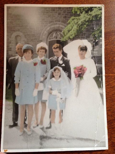 Wayne and Marlene Woods wedding 1968  with Cliff and Annie Woods and Patricia and Brenda Woods
