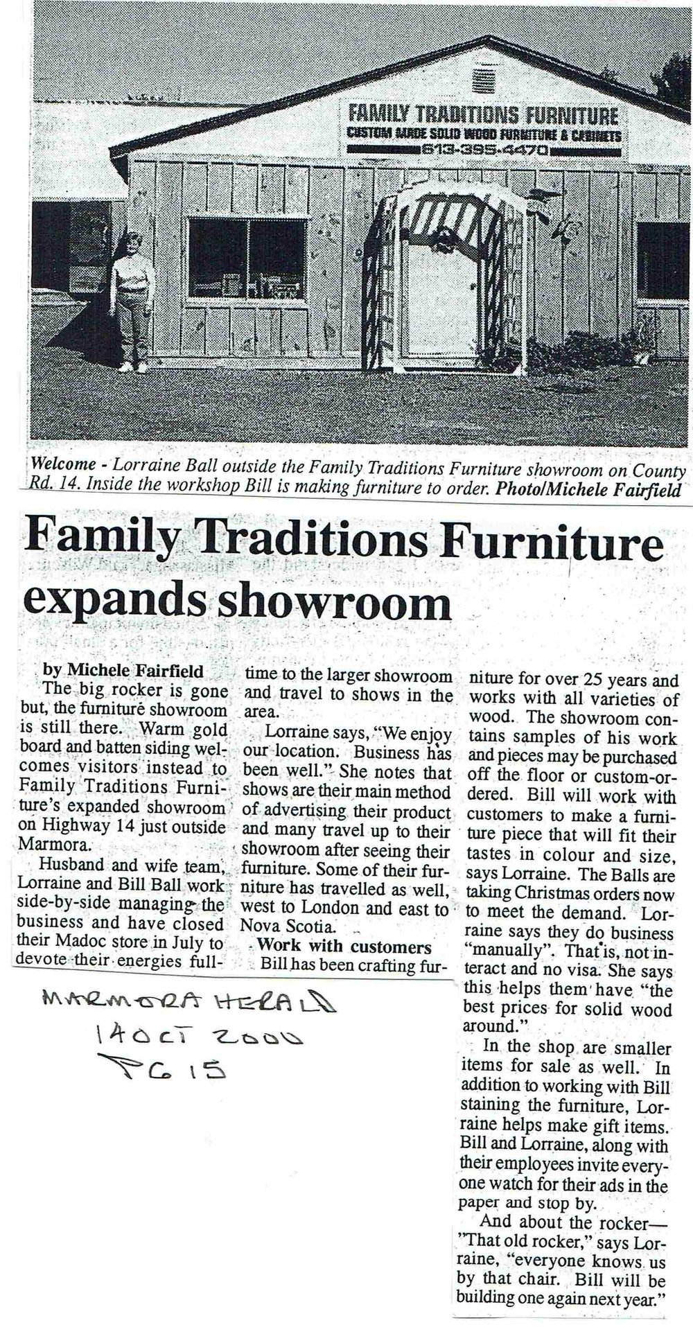 2000 Lorraine and Bill Ball Family Traditions furntiture.JPG