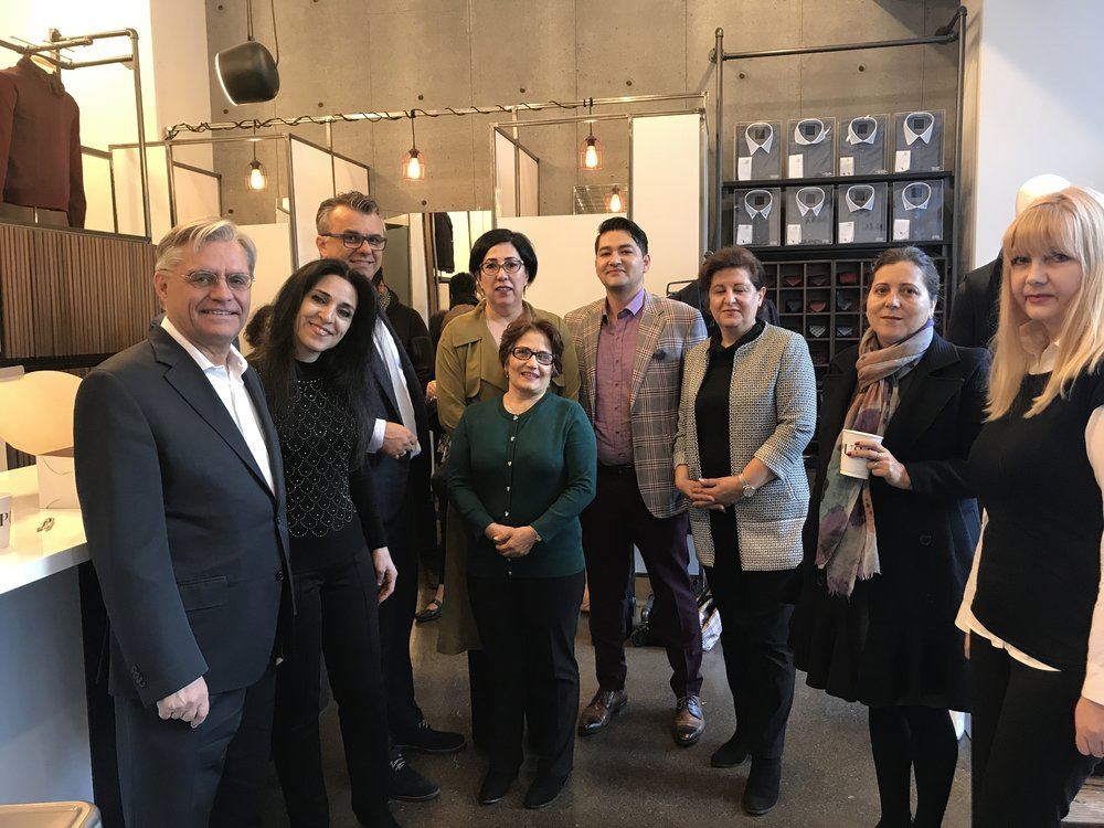 from left: Mahmoud master tailor, Nahid Assistant to Fashionista, Eric sana, grace fashionista, Susan master tailor, Tareq master tailor,  Tatiana Fashionista, and Angela master tailor.