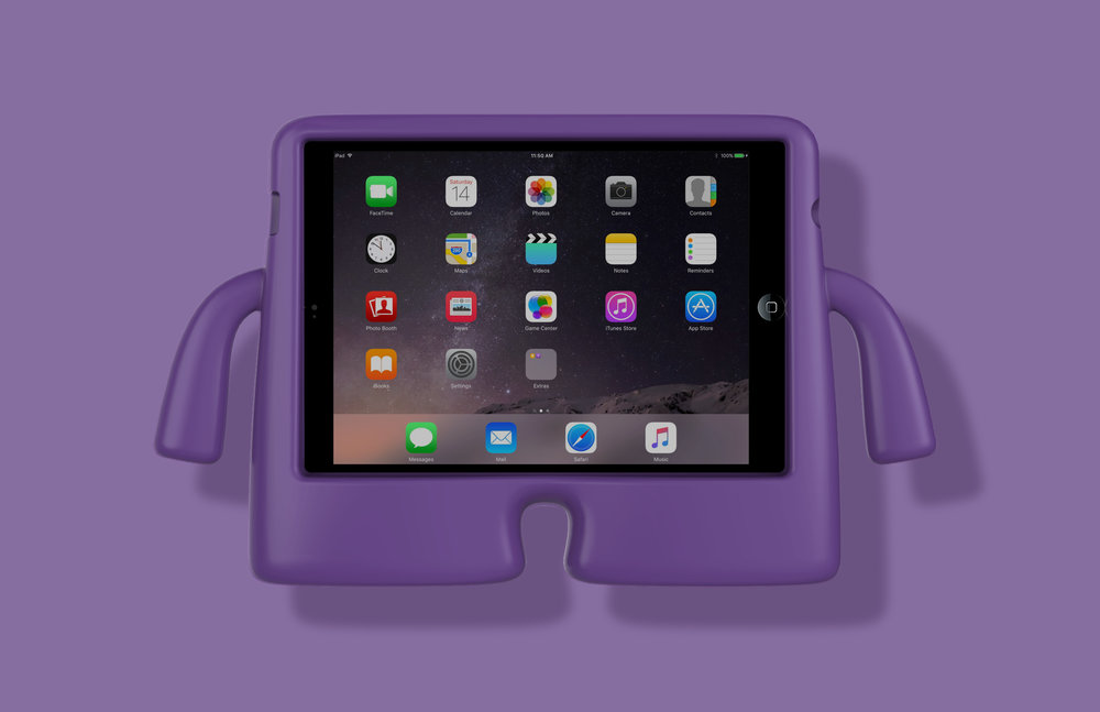 The iGuy is a fun, free standing iPad case that can take is made to appeal to and withstand the enthusiasm of small children.