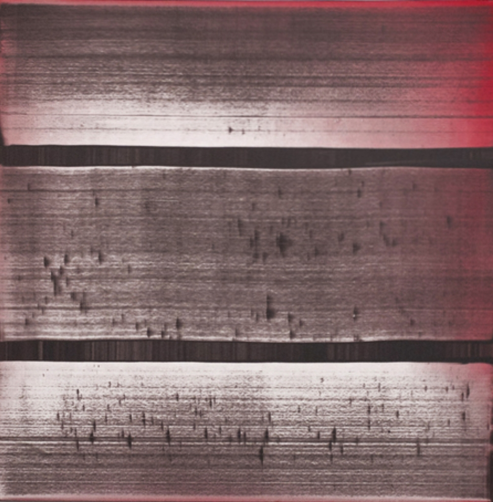 "Erased Gray Red 40""x40""  ( 100cm x 100cm )  2014"