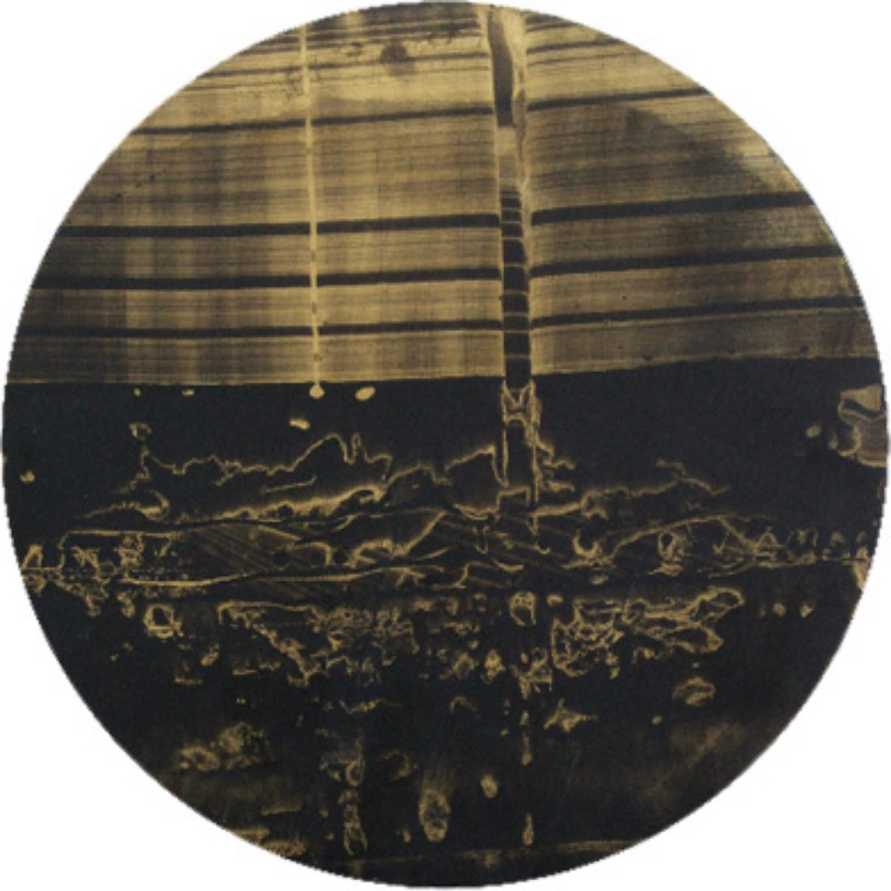 "Big Gold Circle 4, Oil and gold dust on canvas, 18"" diameter  2009"