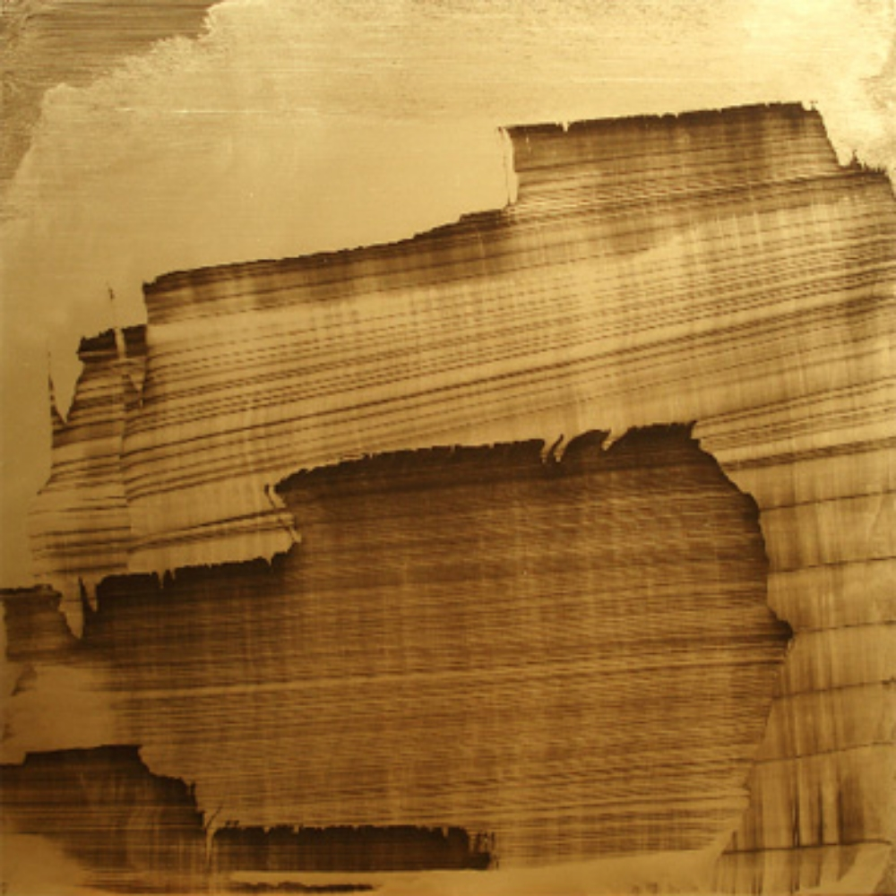 "Gold Landscape 4, Oil and gold powder on linen 58"" X 58"" (148cm X 148cm)  2009"