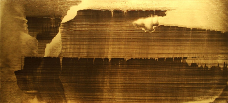 "Gold Landscape 6, Oil and gold powder on linen 52"" X 24"" (137cm X 61cm)  2009"