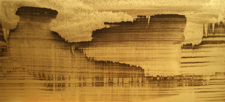 "Gold Landscape 5, Oil and gold powder on linen, 48"" X 28"" (122cm X 70cm)  2009"