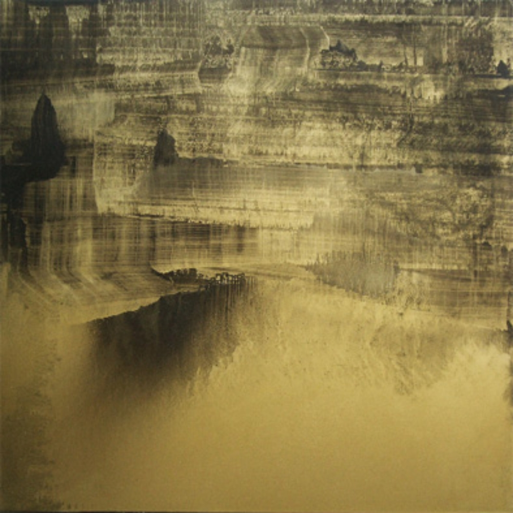"Gold Landscape 4, Oil and gold dust on linen, 54"" X 54"" (137cm X 137cm)  2010"