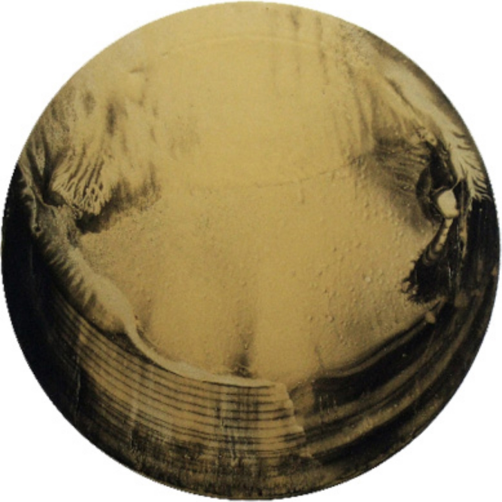"Little Gold Circle 4, Oil and gold dust on canvas, 16"" diameter  2010"