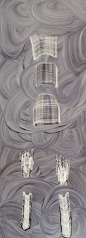 "Oil on Masonite 75"" X 28"" (190cm X 70cm)  1997"