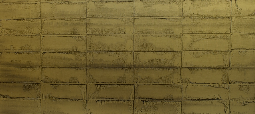 "Oil and gold dust on linen, 24""x52"" (61cm x 132cm)  2010"
