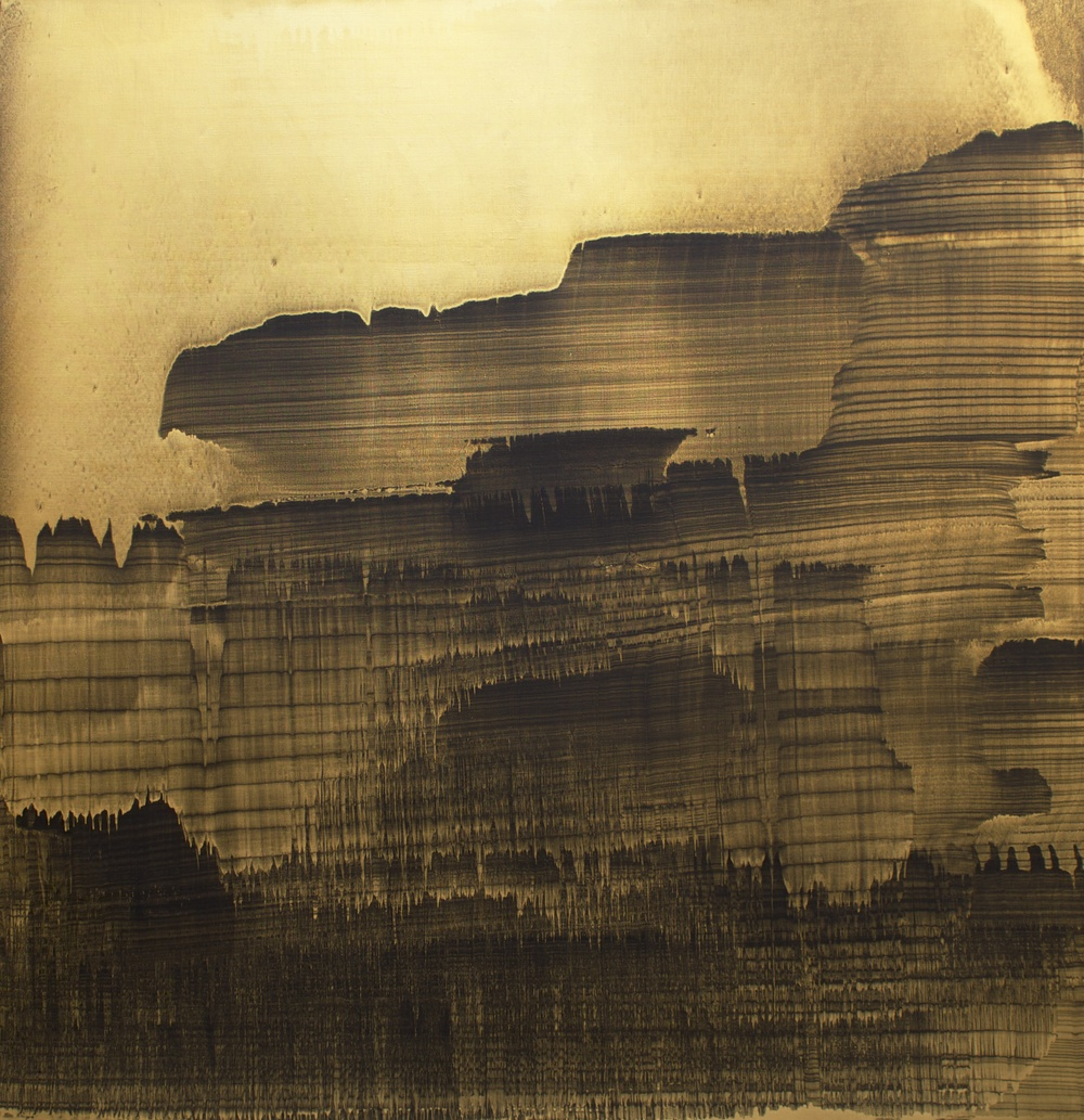 "Oil and gold dust on linen, 52"" x 52"" (132cm x 132cm), 2009"