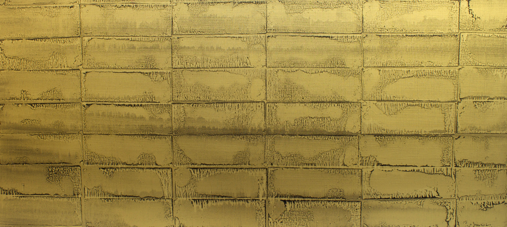 "Oil and gold powder on canvas, 24"" x 52"" (61cm x 132cm), 2010"