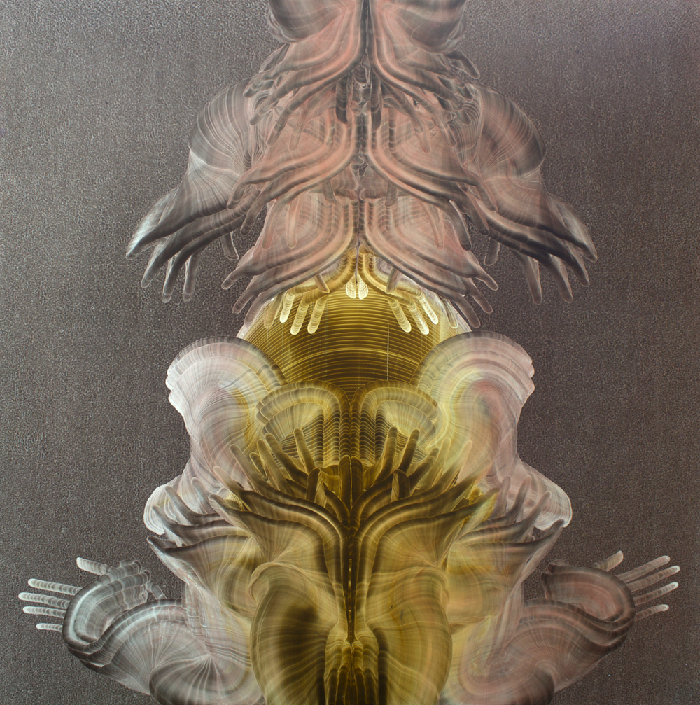 "Oil on masonite, 48"" x 48"" (122cm x 122cm), 2001-2003"