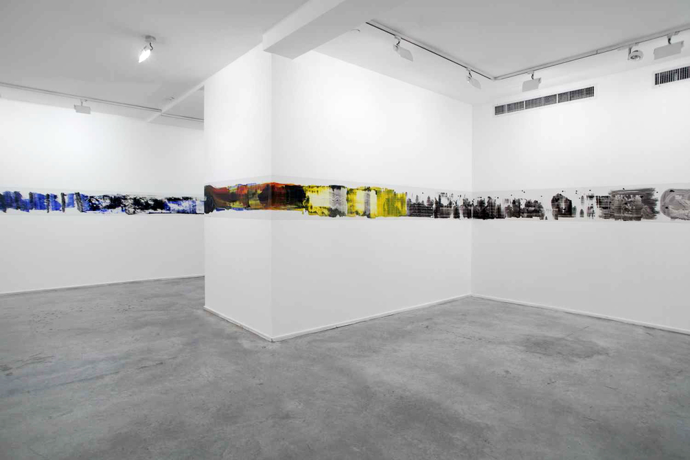 Oil on Contact Paper, 2014   Installation View, Julie M. Gallery, Tel Aviv, Israel